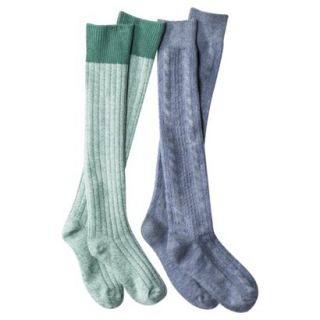 Merona Womens 2 Pack Knee High Ribbed Boot Socks   Green One Size Fits Most