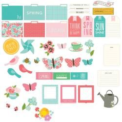 Garden Party Cardstock Die cuts 44/pkg : Shapes, Tags, Frames, File, Journaling