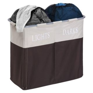 Honey Can Do Dual Compartment Hamper   Brown