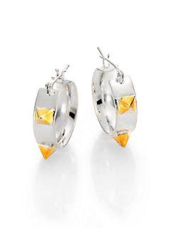 Tom Binns Pyramid Stud Hoop Earrings/2   Silver Gold