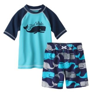 Circo Infant Toddler Boys Whale Rashguard and Swim Trunk Set   Blue 18M