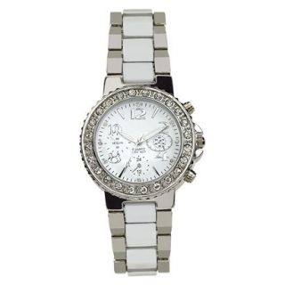 Silver Finish With White Inlay Bracelet Silver Round Case White Dial Watch With