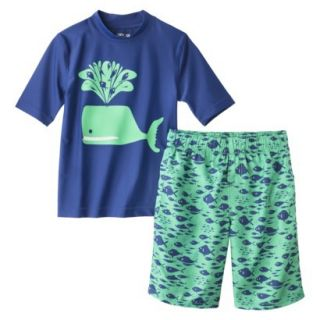 Cherokee Boys Whale Rashguard and Swim Trunk Set   Blue XS