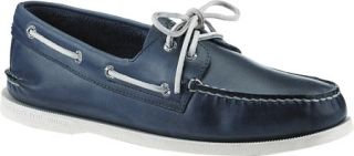 Mens Sperry Top Sider A/O 2 Eye Free Time   Blue Full Grain Leather Sailing Sho