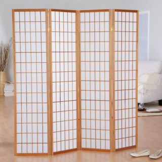 Hayneedle Jakun Honey Shoji 4 Panel Room Divider Multicolor   85066