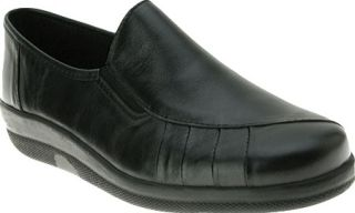 Womens Spring Step Mission   Black Leather Casual Shoes