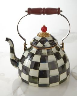 Three Quart Courtly Check Tea Kettle   MacKenzie Childs