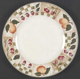 Coventry (PTS) Decoupage Dinner Plate, Fine China Dinnerware   Fruit, Green Chec