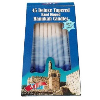 A.J.I. Deluxe Tapered Hand Dipped Blue/White Hanukah Candles 45 pk.