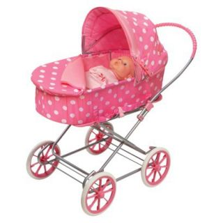 Badger Basket Pink Polka Dot Triple Doll Stroller Baby Doll Accessories