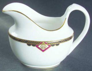 Spode Harvard Creamer, Fine China Dinnerware   Black And Gold Band, Red Diamonds