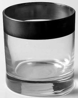 Dorothy Thorpe Silver Band 10 Oz Flat Tumbler   Wide 1 Silver Band,V Shaped Bow