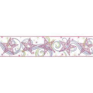 Star Glitter Wallpaper Border   White/Pink/Purple