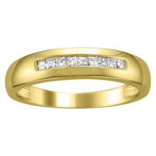 14K Yellow Gold 1/4ctw Princess cut Channel Set Diamond Mens Wedding Band (HI,