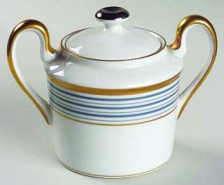 Christian Dior Tropez Blue Sugar Bowl & Lid, Fine China Dinnerware   Blue Bands