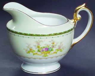 Meito Dorothy Creamer, Fine China Dinnerware   Green Border,Floral Sprays
