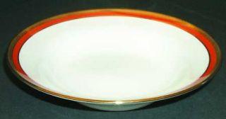 Richard Ginori Palermo Rust (Red) Rim Soup Bowl, Fine China Dinnerware   Impero,