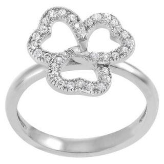 Tressa Sterling Silver Cubic Zirconia Clover Ring   Silver