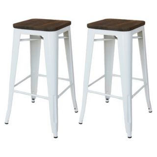 Barstool: Threshold Hampden 29 White Industrial Barstool with Wood Top (Set of