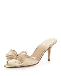 Womens michaela metallic mesh bow slide, gold   kate spade new york