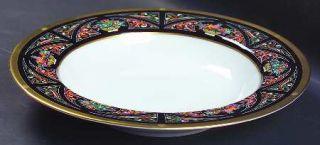 Christian Dior Chambord Large Rim Soup Bowl, Fine China Dinnerware   Black/Multi
