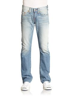 Faded Basket Weave Stitched Straight Leg Jeans   Light Wash