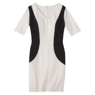 Merona Womens Ponte V Neck Color Block Dress   Sour Cream/Black   L