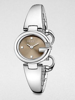 Gucci Stainless Steel Bangle Watch/Brown   Silver