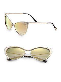 Tom Ford Eyewear Nastasya Metal Cats Eye Sunglasses   Gold