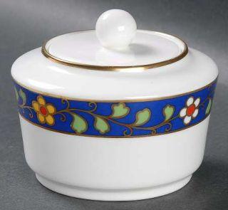 Richard Ginori Pallanza Sugar Bowl & Lid, Fine China Dinnerware   Blue Band,Gree