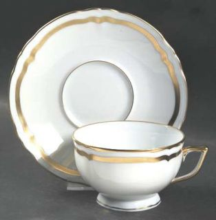 Raynaud Marie Antoinette Gold Footed Cup & Saucer Set, Fine China Dinnerware   G