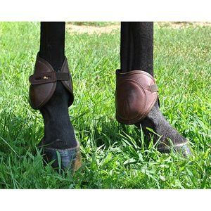 Dover Premier Leather Ankle Horse Boots With Brass Button Closure Brown Large