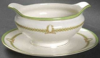Baronet Lyric (Green Design Off White) Gravy Boat with Attached Underplate, Fine