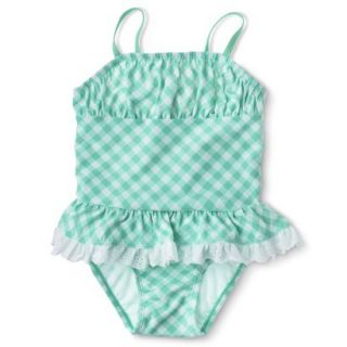 Circo Infant Toddler Girls 1 Piece Gingham Check Swimsuit   Aqua 2T