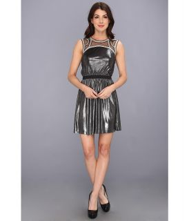 Tbags Los Angeles Sleeveless Waisted Mini Dress w/ Beaded Neck Trim Womens Dress (Silver)