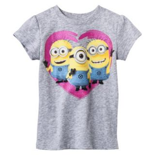 Despicable Me Infant Toddler Girls Short Sleeve Minion Heart Tee   Grey 3T