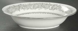 Coalport Silver Wedding 9 Oval Vegetable Bowl, Fine China Dinnerware   Gray Scr