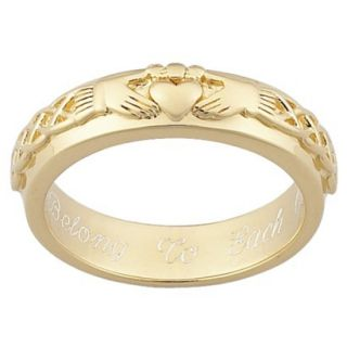 Gold Over Sterling Silver Engraved Claddagh Wedding Band   12
