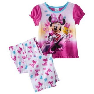 Disney Minnie Mouse Toddler Girls 2 Piece Short Sleeve Pajama Set   Pink 3T