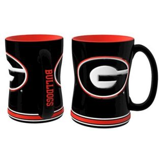 Boelter Brands NCAA 2 Pack Georgia Bulldogs Sculpted Relief Style Coffee Mug