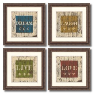 J and S Framing LLC Dream Laugh Live and Love Framed Wall Art   Set of 4   16.