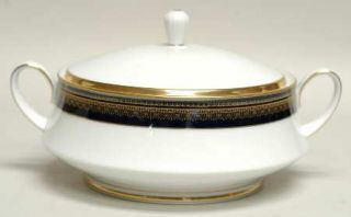 Noritake Vienna Round Covered Vegetable, Fine China Dinnerware   Blue Band, Gold