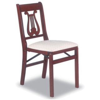 Folding Chair: Music Back Folding Chair 2PK   Red Brown (Cherry)