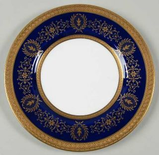 Coalport Lady Anne Cobalt Blue Salad Plate, Fine China Dinnerware   Gold Flowers