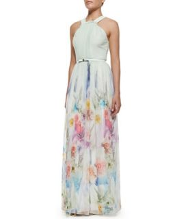 Womens Beula Floral Print Pleated Maxi Dress, Pale Green   Ted Baker London