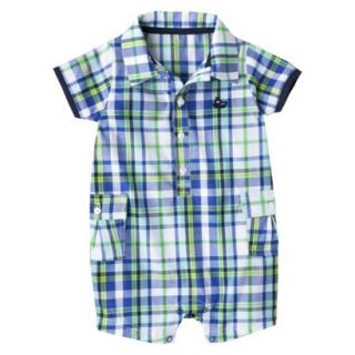 Just One YouMade by Carters Newborn Boys Plaid Romper   Boat Blue/White 18 M