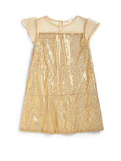 Marie Chantal Little Girls Silk Sequin Dress   Gold