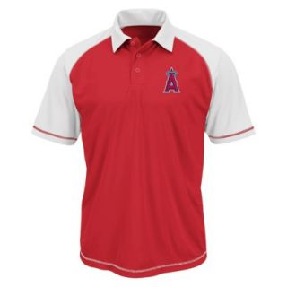 MLB Mens Los Angeles Angels Synthetic Polo T Shirt   Red/White (XL)