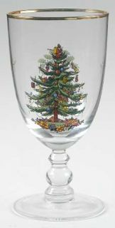 Spode Christmas Tree Green Trim 16 Oz Glassware Goblet, Fine China Dinnerware