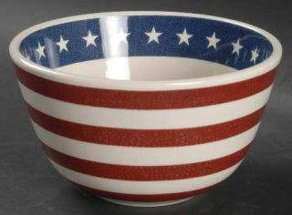American Living Americana Soup/Cereal Bowl, Fine China Dinnerware   Red Bands, W